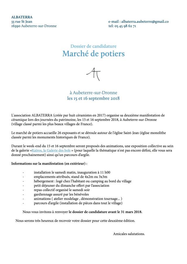 1Candidature - Marché de potiers - ALBATERRA 2018