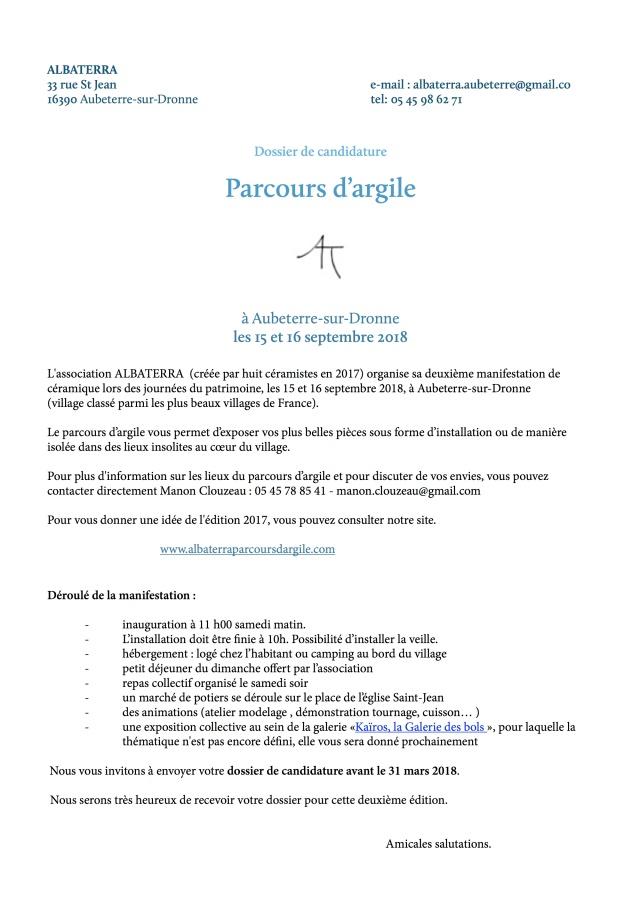 1Candidature - parcours d'argile - ALBATERRA 2018