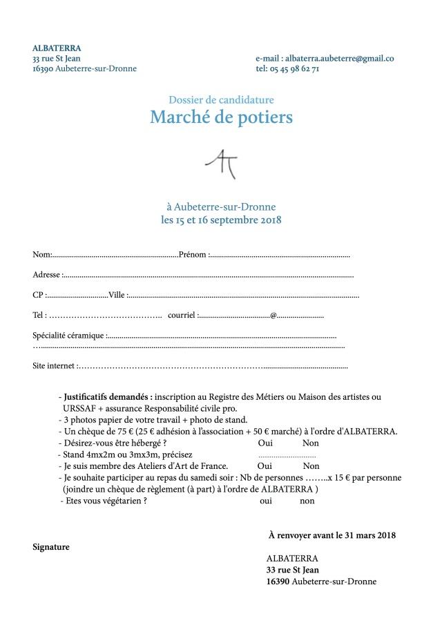 2Candidature - Marché de potiers - ALBATERRA 2018