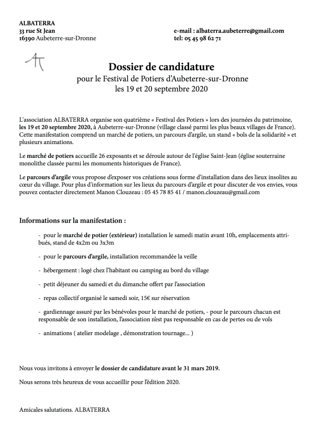 1 candidature Albaterra 2020